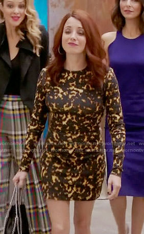 Jo's yellow dotted print long sleeve dress on Girlfriends Guide to Divorce