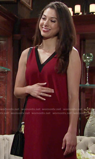 Juliet's red v-neck shift dress on The Young and the Restless