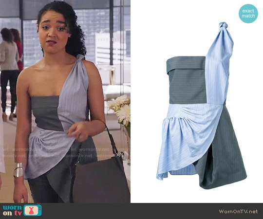 J.W. Anderson Striped Patchwork One-shoulder Top worn by Kat Edison (Aisha Dee) on The Bold Type