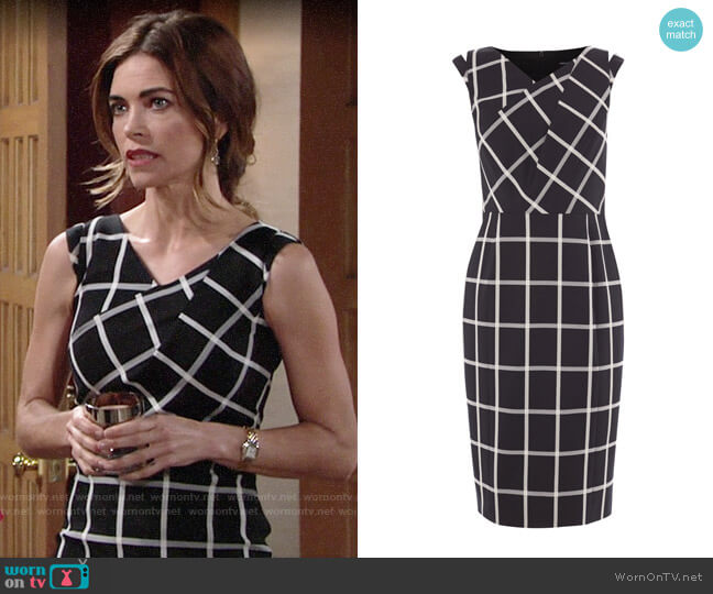 Karen Millen Windowpane Check Dress worn by Victoria Newman (Amelia Heinle) on The Young & the Restless