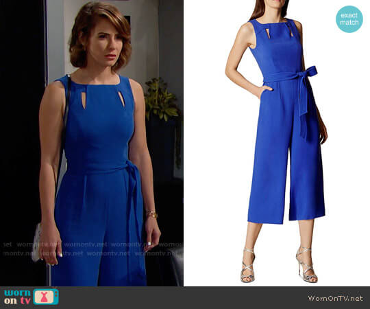 Karen Millen Belted Culotte Jumpsuit worn by Linsey Godfrey on The Bold & the Beautiful