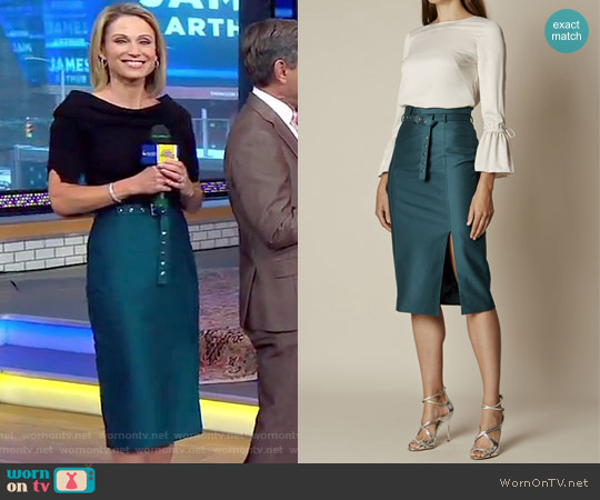 Belted Stud Pencil Skirt  by Karen Millen worn by Amy Robach on Good Morning America