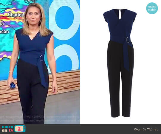 Contrast Wrap Jumpsuit by Karen Millen worn by Ginger Zee (Ginger Zee) on Good Morning America