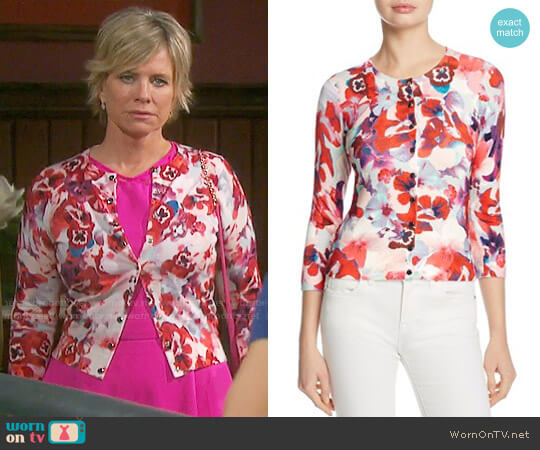 Karen Millen Floral Cardigan worn by Kayla Brady (Mary Beth Evans) on Days of our Lives