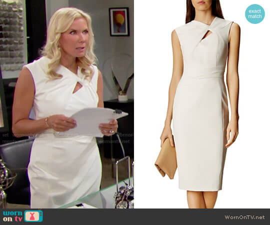Karen Millen Twist-Front Sheath Dress worn by Katherine Kelly Lang on The Bold & the Beautiful