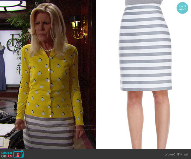 Kate Spade Marit Stripe Skirt worn by Pamela Douglas (Alley Mills) on The Bold & the Beautiful