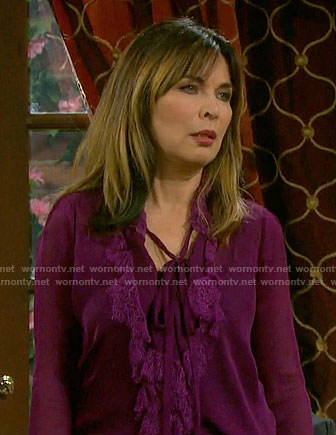 Kate's purple ruffled blouse on Days of our Lives