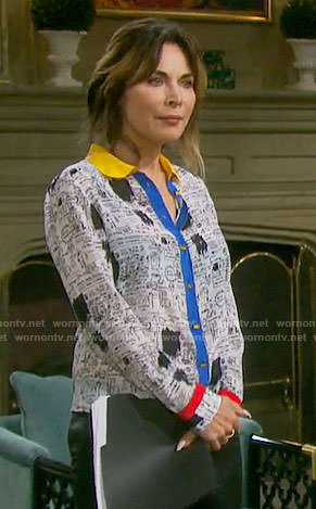 Kate's sketch print shirt on Days of our Lives
