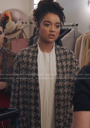 Kat's houndstooth jacket on The Bold Type