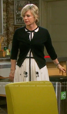 Kayla's black and white bow detail dress on Days of our Lives