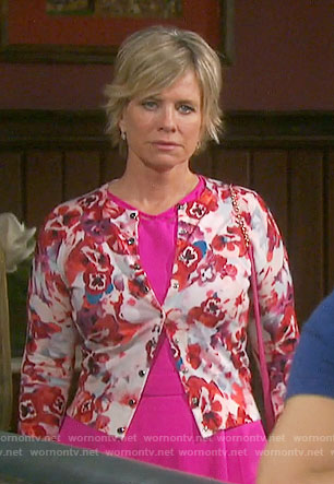 Kayla's pink dress and floral cardigan on Days of our Lives
