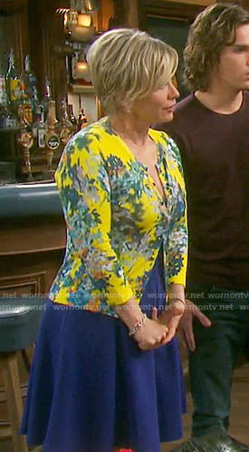 Kayla's yellow floral cardigan on Days of our Lives
