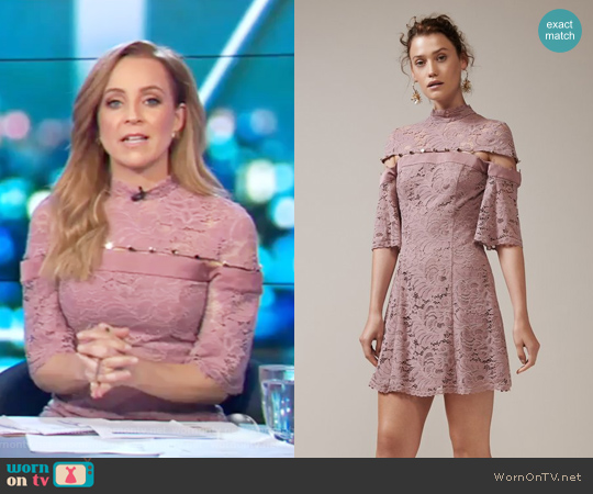 Star Crossed Lace Mini Dress by Keepsake worn by Carrie Bickmore on The Project