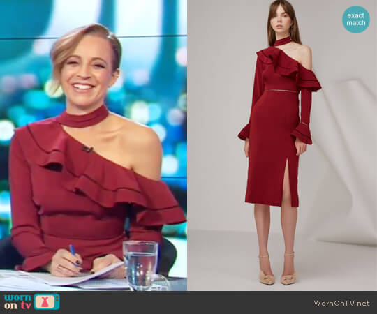 Lovers holiday midi dress by Keepsake worn by Carrie Bickmore on The Project