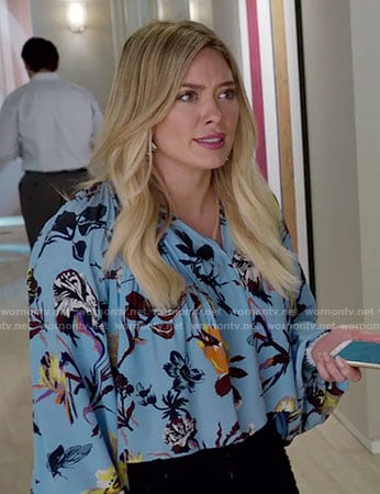 Kelsey's blue floral top on Younger