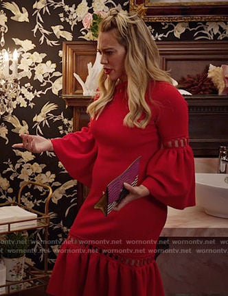 Kelsey's red bell-sleeve dress on Younger