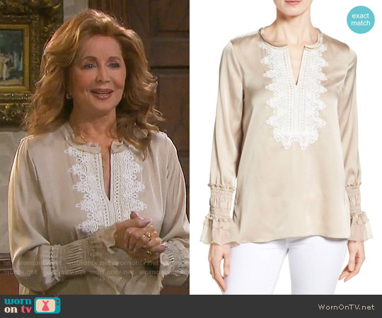 Kobi Halperin Naya Lace Trim Blouse worn by Suzanne Rogers on Days of our Lives