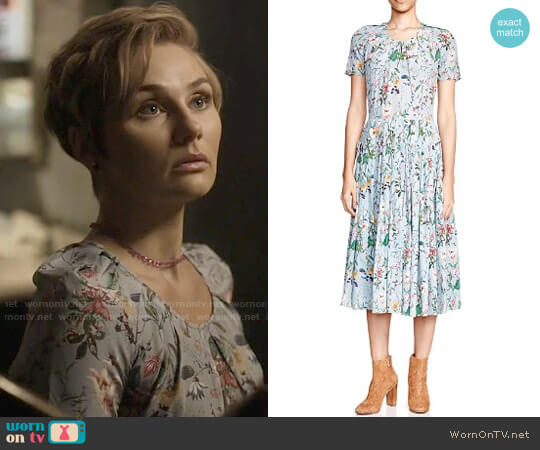 The Kooples Folkloric Print Silk Dress worn by Clare Bowen on Nashville