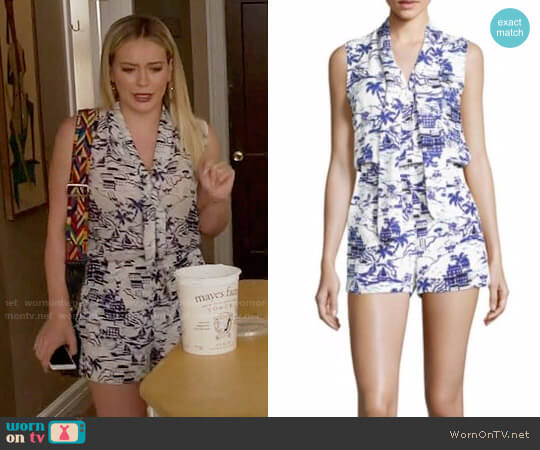 L'Agence Behati Printed Silk Romper worn by Kelsey Peters (Hilary Duff) on Younger