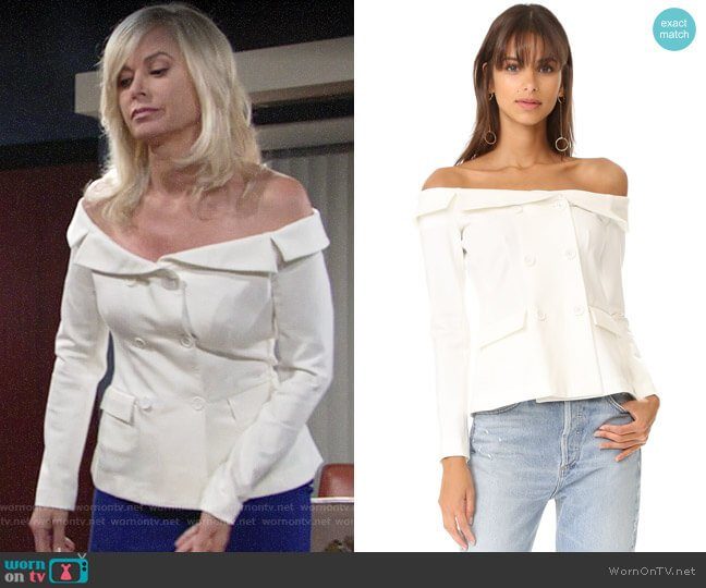 L'Agence Stephan Off Shoulder Top worn by Eileen Davidson on The Young & the Restless