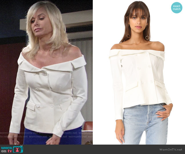 L'Agence Stephan Off Shoulder Top worn by Ashley Abbott (Eileen Davidson) on The Young & the Restless