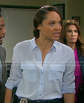 Lani's blue button down shirt on Days of our Lives