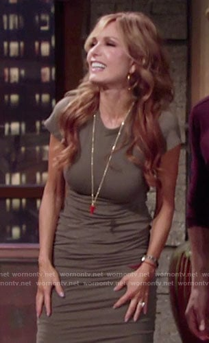 Lauren's khaki short sleeve ruched dress on The Young and the Restless