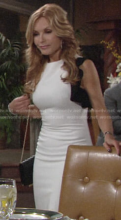 Lauren's white dress with black ruffle on The Young and the Restless