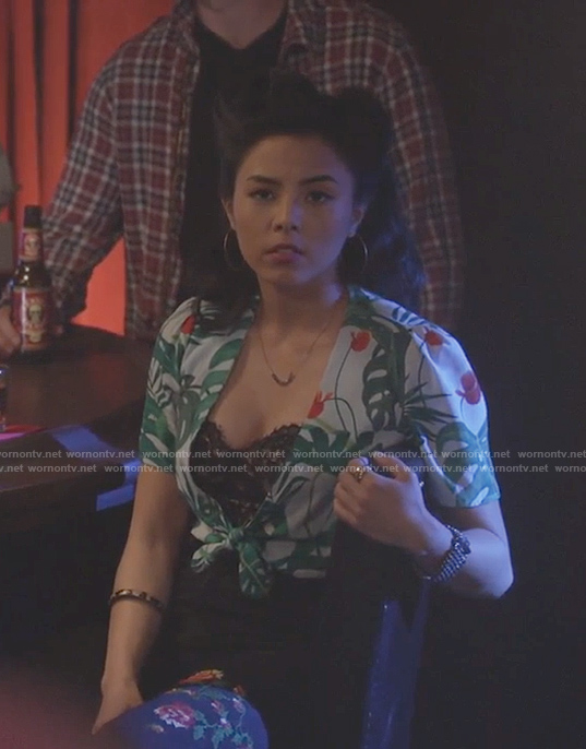 Amander's tropical green crop top on Stitchers