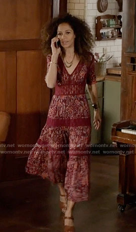 Lena's burgundy floral maxi dress on The Fosters