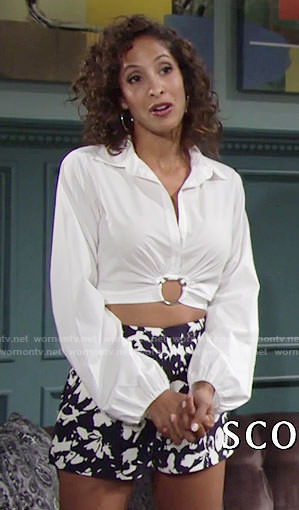 Lily's white ring detail shirt and floral shorts on The Young and the Restless