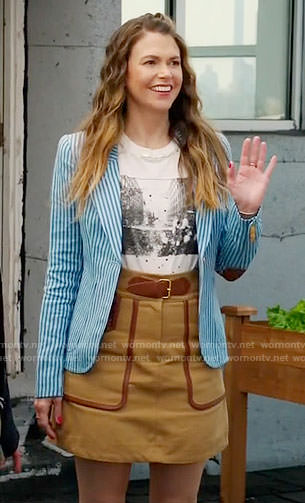 Liza's blue striped blazer and camel belted skirt on Younger