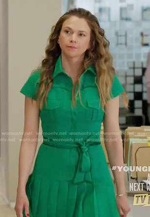 Liza's green pleated shirtdress on Younger