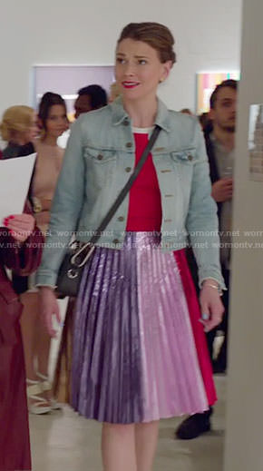 Liza's red striped sleeve top and colorblock metallic pleated skirt on Younger