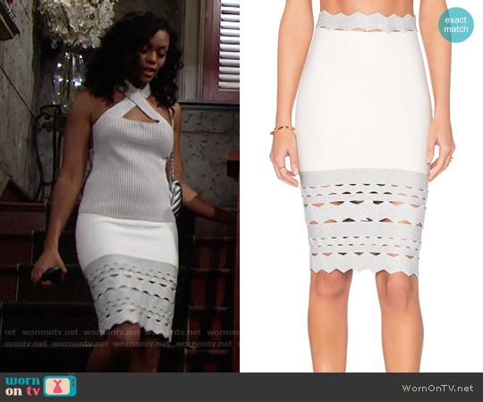 Lollita Cutout Hem Skirt worn by Hilary Curtis on The Young & the Restless