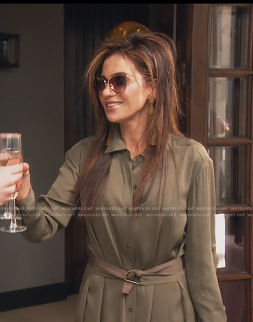 Peggy's olive shirtdress on The Real Housewives of OC