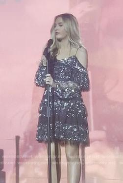 Maddie's black embellished cold-shoulder dress on Nashville