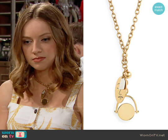 Madewell Face It Charm Lariat Necklace worn by Coco Spectra (Courtney Grosbeck) on The Bold & the Beautiful