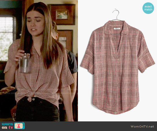 Madewell Courier Button-back Shirt in Hartley Plaid worn by Maia Mitchell on The Fosters