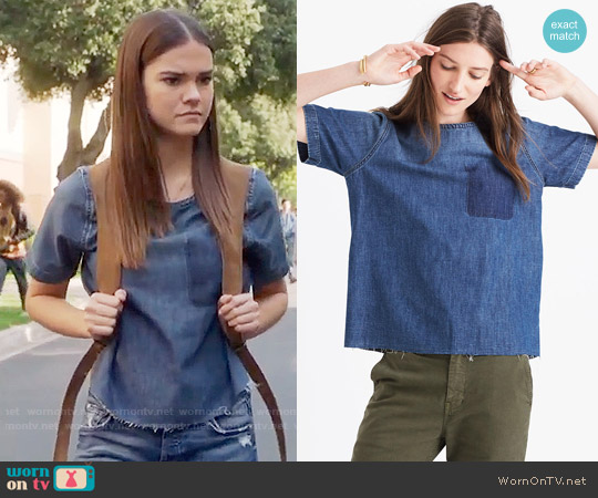Madewell Denim Raw Edge Tee worn by Maia Mitchell on The Fosters