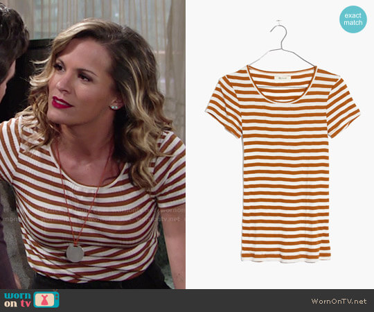 Madewell Slim Ribbed Tee in Sandoval Stripe in Golden Pecan worn by Melissa Claire Egan on The Young & the Restless