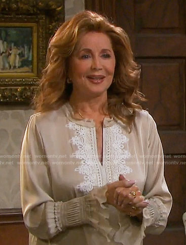 Maggie's beige top with white lace detail on Days of our Lives