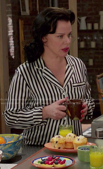 Maggie's striped pajamas on Younger