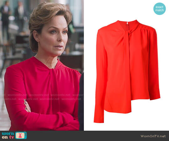 Maison Margiela Asymmetric Blouse worn by Melora Hardin on The Bold Type