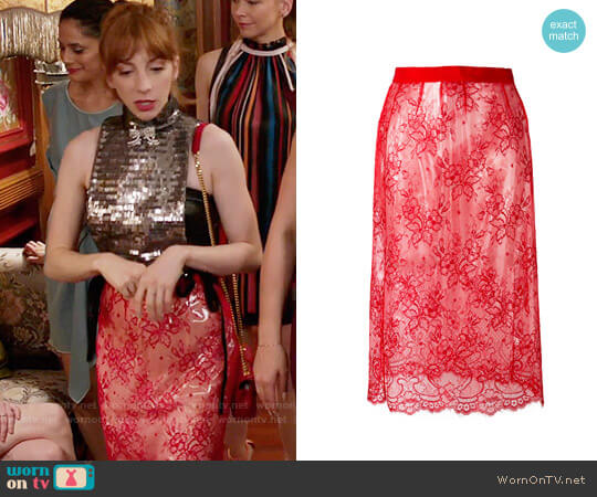 Maison Margiela Sheer Lace Skirt worn by Molly Bernard on Younger