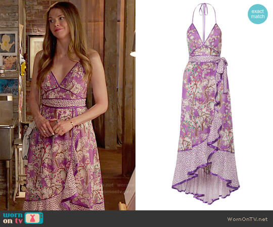 Marc Jacobs Ruffled printed cotton and silk-blend halterneck dress worn by Sutton Foster on Younger