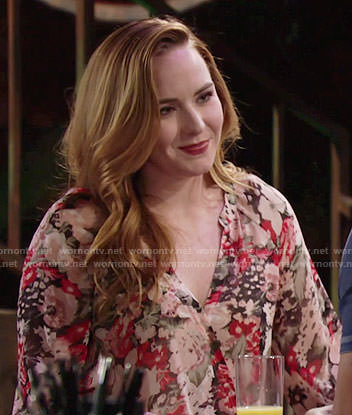 Mariah's floral v-neck blouse on The Young and the Restless