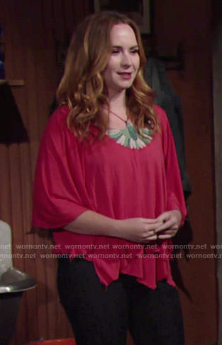 Mariah's coral top with green embroidery on The Young and the Restless