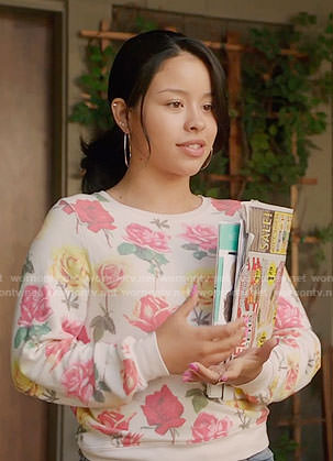 Mariana's rose print sweatshirt on The Fosters