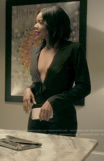 Mary Jane's pinstriped plunge neck jumpsuit on Being Mary Jane